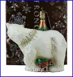 Jay Strongwater Amazing Palace & Polar Bear Glass Christmas Ornament New Box