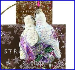 Jay Strongwater Amazing Two Turtledoves Glass Christmas Ornament New Box