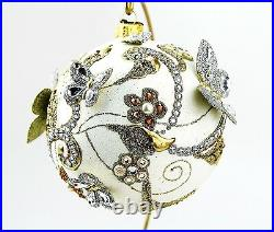 Jay Strongwater Artisan Butterfly Ball 4 Glass Ornament Golden Pearl Stand New