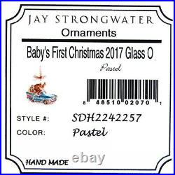 Jay Strongwater Baby's First Christmas Elephant Giraffe Glass Ornament New Box