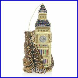 Jay Strongwater Big Ben With Tiger Glass Ornament #sdh2278-280 Brand Nib F/sh