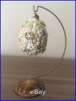 Jay Strongwater Blossom Egg Easter Christmas Ornament Swarovski Crystals Stand