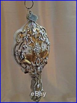 Jay Strongwater Christmas Ornament Hand Mirror Swarovski Crystal Nib