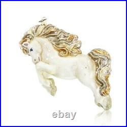 Jay Strongwater Extra Large White & Gold Galloping Horse Glass Ornament New Box
