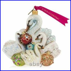 Jay Strongwater Glass Holiday Ornament Seven Swans of Swimming
