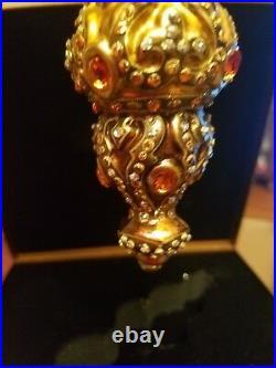 Jay Strongwater Gold/Topaz Finial Shape Glass Ornament with Swarovski Crystal 2002