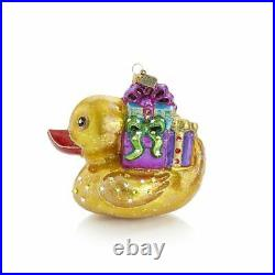 Jay Strongwater Golden Ducky Carrying Gift Glass Ornament #sdh20018250 Brand Nib