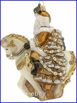 Jay Strongwater Golden Santa On Horse Glass Ornament New Box