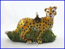 Jay Strongwater Hand Signed Cheetah Christmas Ornament Swarovski Crystals Enamel