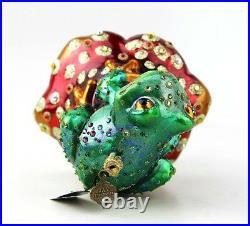 Jay Strongwater Jewel Frog On Mushroom Glass Ornament New Box