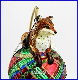 Jay Strongwater Jubilee Fox On Plaid Ballglass Ornament Swarovski New Stand