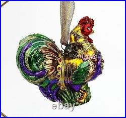 Jay Strongwater Jubilee Rooster Glass Christmas Ornament New Box