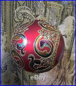 Jay Strongwater Large Globe Christmas Ornament with Swarovski Crystals 2002 Red