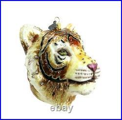 Jay Strongwater Large Tiger Head Glass Ornament Swarovski New Box