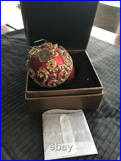 Jay Strongwater Neiman Marcus 2002 Ball Crystal Ornament In Box