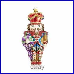 Jay Strongwater Nutcracker With Wreath Glass Ornament #sdh20012-250 Brand Nib Fs