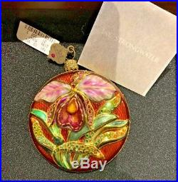 Jay Strongwater ORCHID FLOWER CHRISTMAS ORNAMENT withSwarovski CrystalsNEW in Box