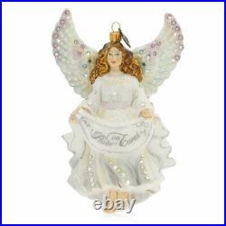 Jay Strongwater Peace On Earth Angel Glass Ornament #sdh2243-283 Brand Nib F/sh