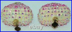 Jay Strongwater S/2 Heart Pink Green & White Crystal Christmas Tree Ornaments