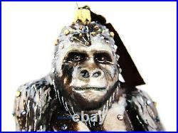 Jay Strongwater Safari Gorilla Glass Ornament Swarovski Natural Brand New Box