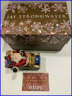 Jay Strongwater Santa On a Sleigh Christmas Ornament Original Box