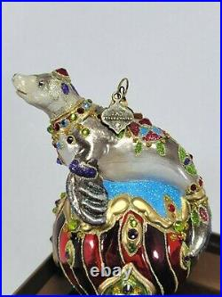 Jay Strongwater Seal On Circus Ball with Swarovski Crystals Christmas Ornament