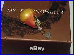 Jay Strongwater Set 6 Small Pear Ornament Original Box Christmas Jeweled Crystal
