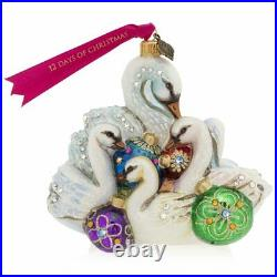 Jay Strongwater Seven Swans Swimming Glass Ornament #sdh2323-250 Brand Nib F/sh