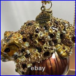 Jay Strongwater Stalking Leopard Christmas Ornament Swarovski Crystals Enamel