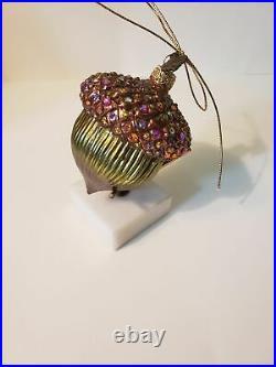 Jay Strongwater Swarovski Crystals Encrusted Acorn Ornament