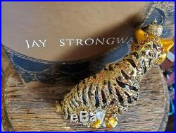 Jay Strongwater'Tiger' 2002 Christmas Ornament with Swarovski Crystals w Box