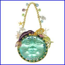Kirks Folly Goddess Seaview Moon 88mm Mermaid Ornament goldtone / mermaid azure