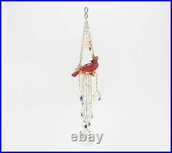 Kirks Folly Red Cardinal & Crystal Aurora Borealis Ornament Goldtone