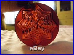 LALIQUE 2003 Noel Astre Star Snowflake Red Crystal Christmas Ornament withbox