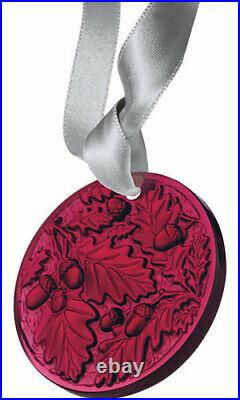LALIQUE 2016 Chene Oak Red Color Crystal Christmas Ornament Brand New in Box