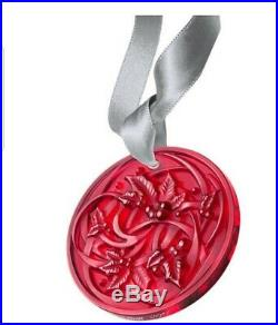 LALIQUE 2017 Entrelacs Crystal Christmas Tree Red Holy Vines Ornament New in Box