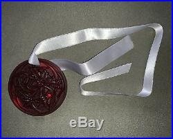 LALIQUE 2017 Entrelacs (Vines) Red Crystal Christmas Ornament Mint in Box