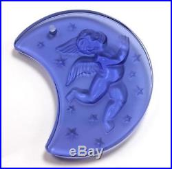 LALIQUE ANGEL CHERUB MOON 1999 FROSTED BLUE CRYSTAL CHRISTMAS ORNAMENT with BOX