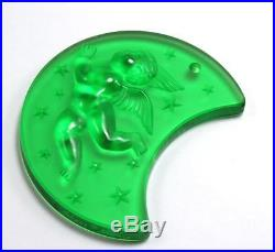 LALIQUE ANGEL CHERUB MOON 1999 FROSTED GREEN CRYSTAL CHRISTMAS ORNAMENT with BOX