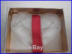 LALIQUE CRYSTAL CHERUB ANGEL HEART CHRISTMAS ORNAMENT w 1.7 OZ PARFUM MIB