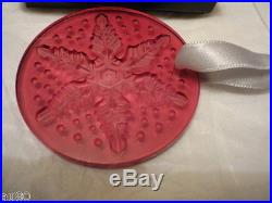 LALIQUE Crystal Christmas 2013 ornament Snowflake RED NIB signed Perfect