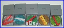 LALIQUE Mistletoe Christmas Crystal Ornament 1988 1992 Set of 5 Mint in Box