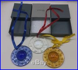 LALIQUE Star Globe Christmas Crystal Ornament 1993 1994 1995 Set of 3 Mint Box