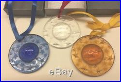 LALIQUE Star Globe Christmas Crystal Ornament 1993 1994 1995 Set of 3 Mint Box