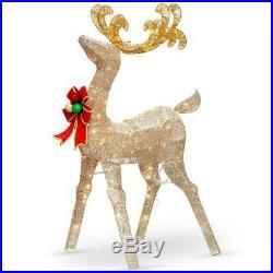 LED Lighted Crystal Deer Buck Sculpture Sculpture Outdoor Christmas Decoration