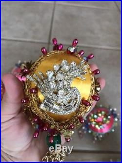 LOT 10 Vintage Christmas Ornament rhinestone crystal Tree Decorations jewelry