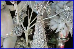 LaRge cRowN jeWel CRYSTAL RHINESTONE JEWELRY CHRISTMAS cRosS ORNAMENT buTton loT