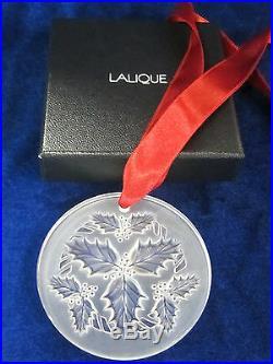 Lalique #10413200 Snowflake Christmas Ornament 2014 Holly Clear Brand Nib F/sh