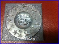Lalique 1994 Clear 3D Stars Moon Dome Constellation Crystal Christmas Ornament