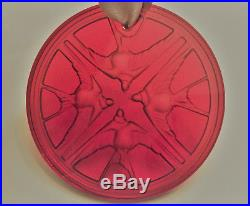 Lalique 2009 AILES SWALLOWS Red Crystal Christmas Ornament, Brand New in Box